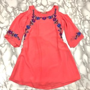 Girls Embroidered Floral Dress Coral Hippie Boho 7
